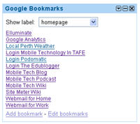 Image of Google Bookmarks gadget
