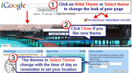 Image of setting iGoogle Themes