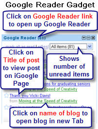 Image of Google reader gadget