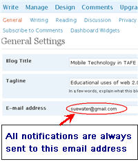 Image of blog email address