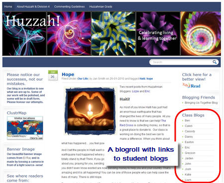 Example of a blogroll on a class blog