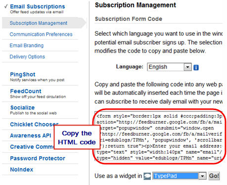 Copy Feedburner email HTML code