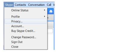 Skype > Privacy