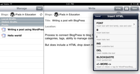 Using the BlogPress simple HTML toolbar