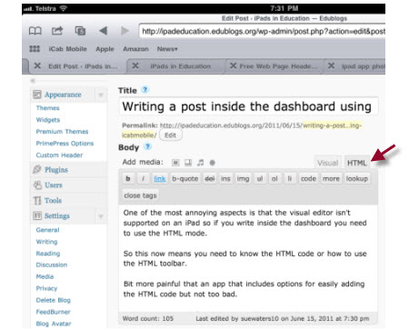 Writing on an iPad within the dashboard using the HTML editor