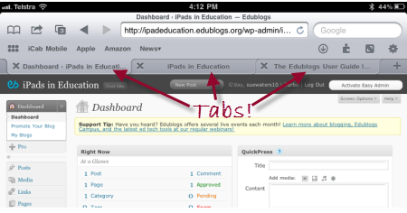 Tab browsing in iCabmobile on an iPad