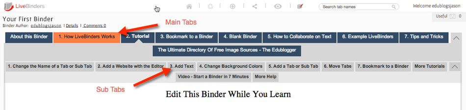 livebinder main tabs and sub tabs