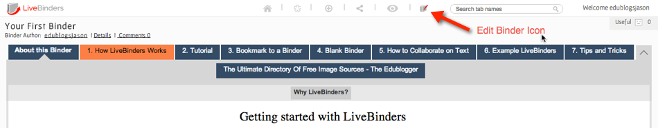 livebinder edit binder tab