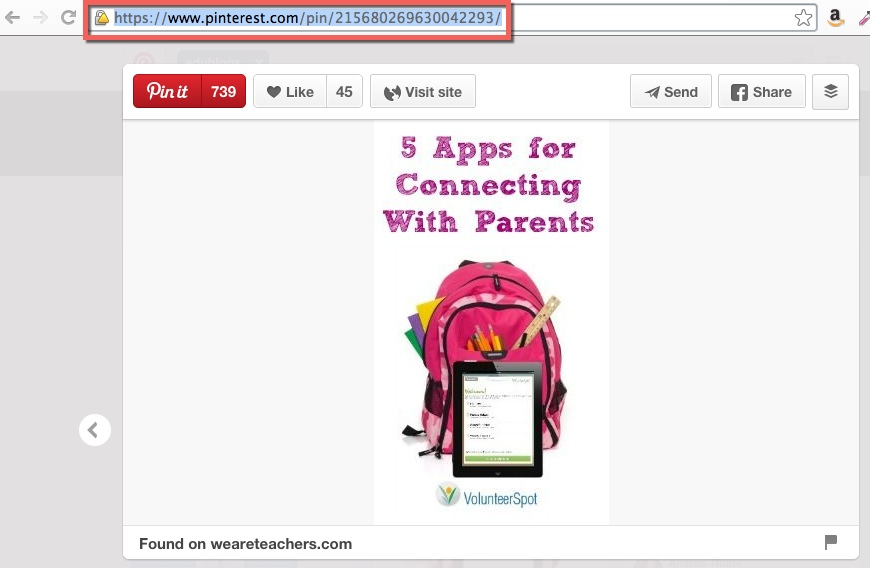 screenshot of where to copy the url of a pinterest pin