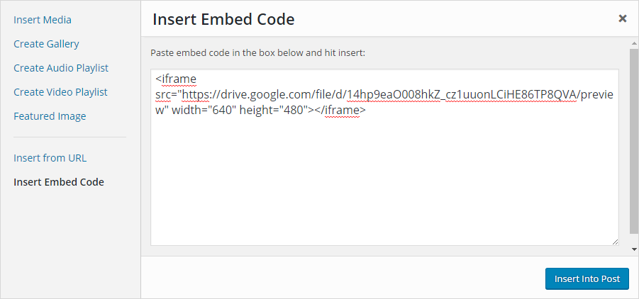 Add embed code