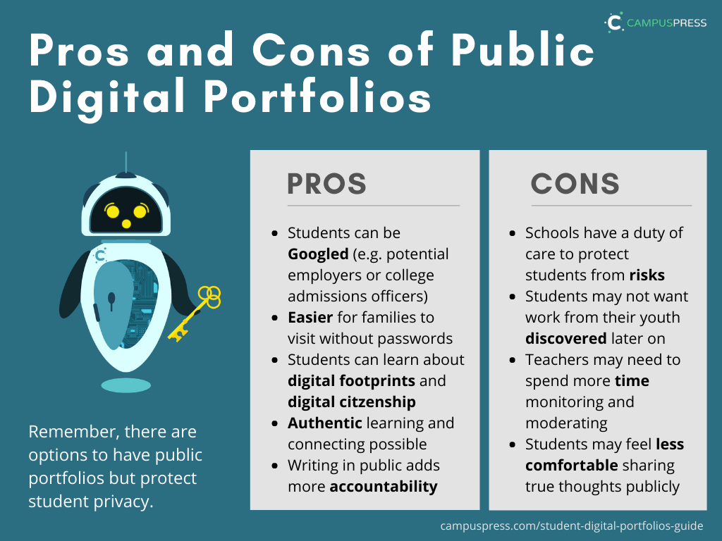 Pros and Cons of Public Digital Portfolios summary graphic