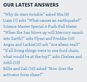 Science Master section with latest answers