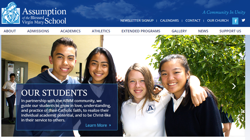 Screenshot of Assumption of the Blessed Virgin Mary School in Pasadena, California
