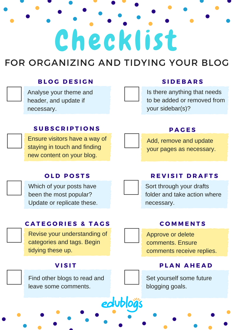 Checklist forOrganizing and Spring Cleaning Your Blog in 10 Steps | The Edublogger | Printable Checklist | Edublogs