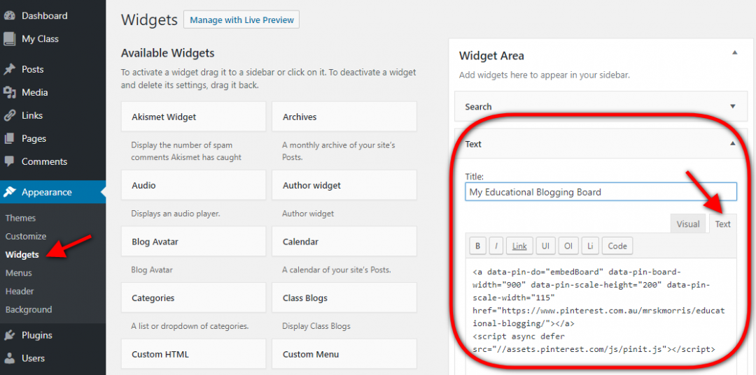 Drag a text widget to the sidebar and add embed code