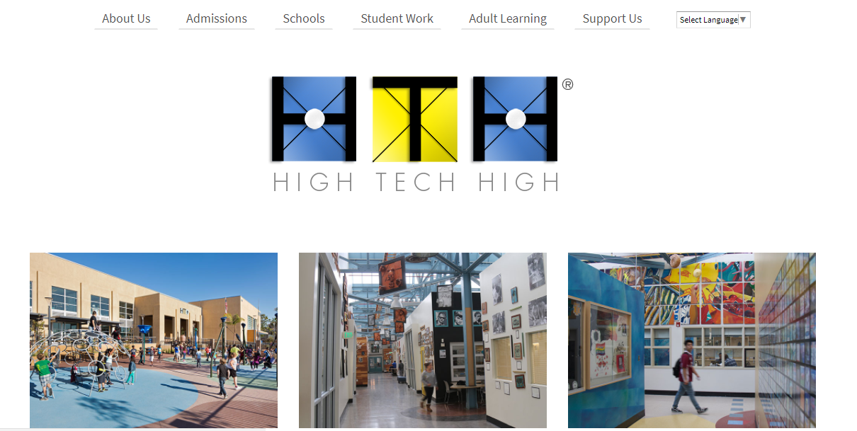Screenshot of High Tech High district website