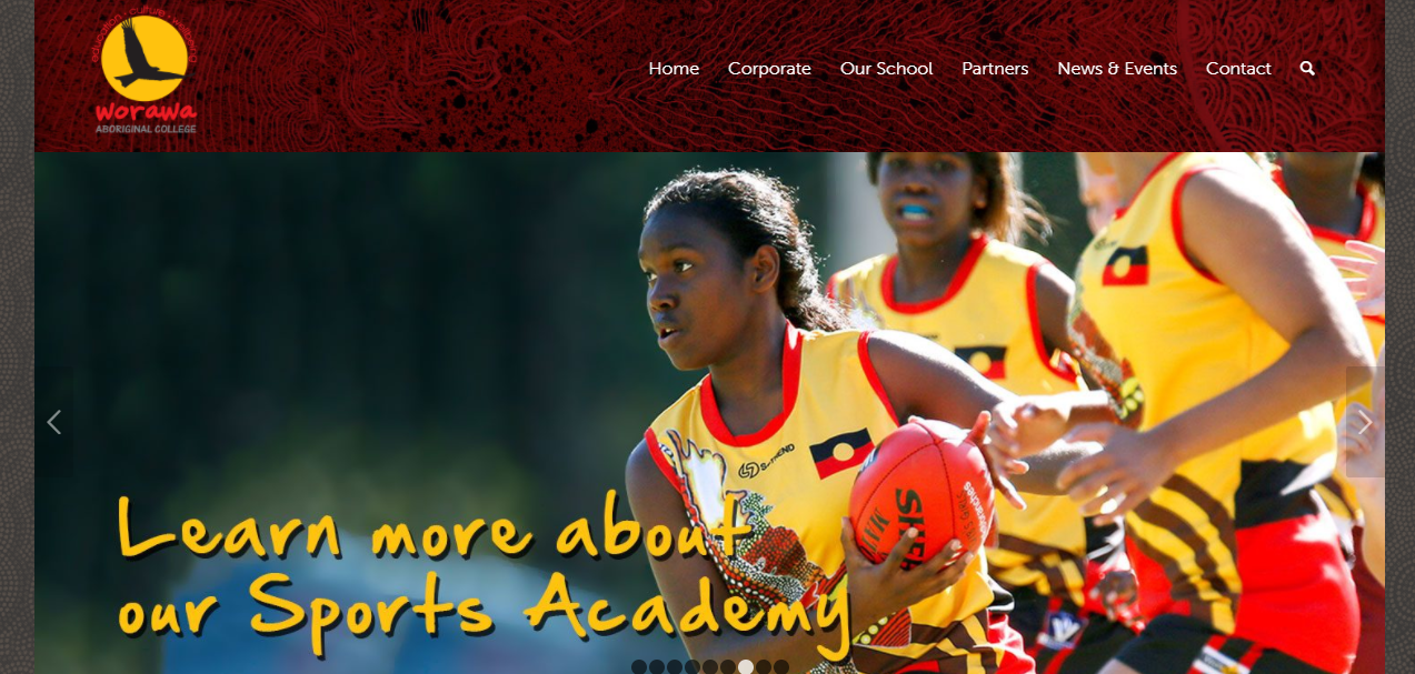 Worawa Aboriginal College screenshot of website