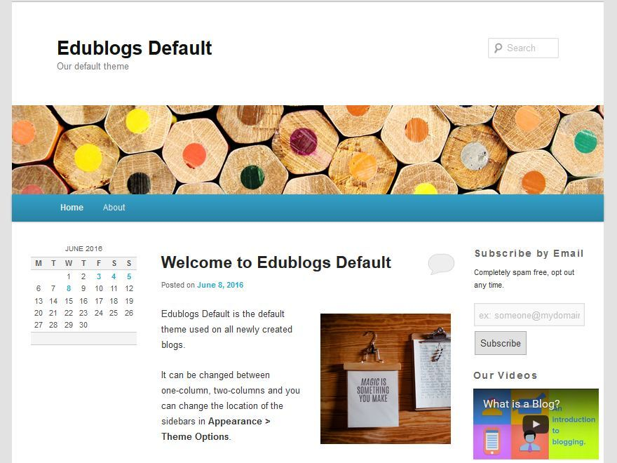 Preview of edublogs default theme