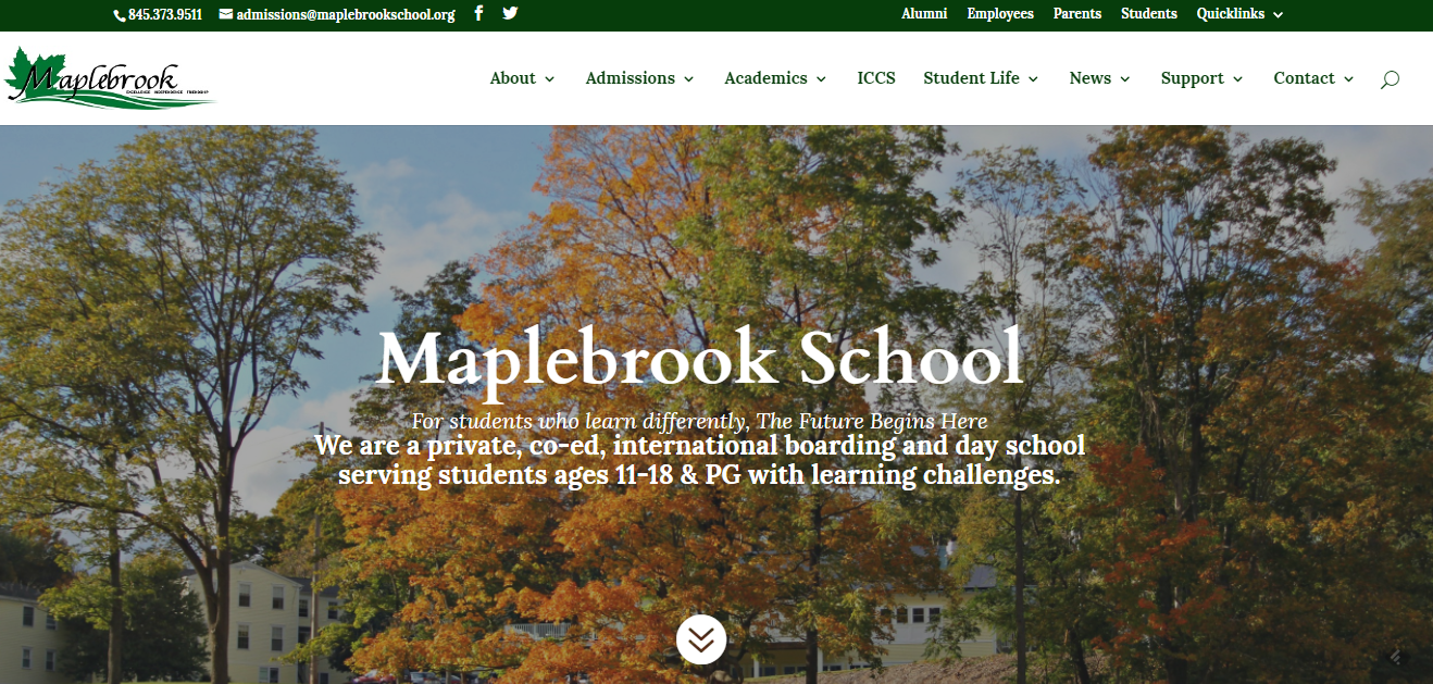 Screenshot of Maplebrook school website