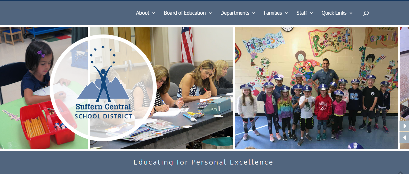 Screenshot of Suffern School district website