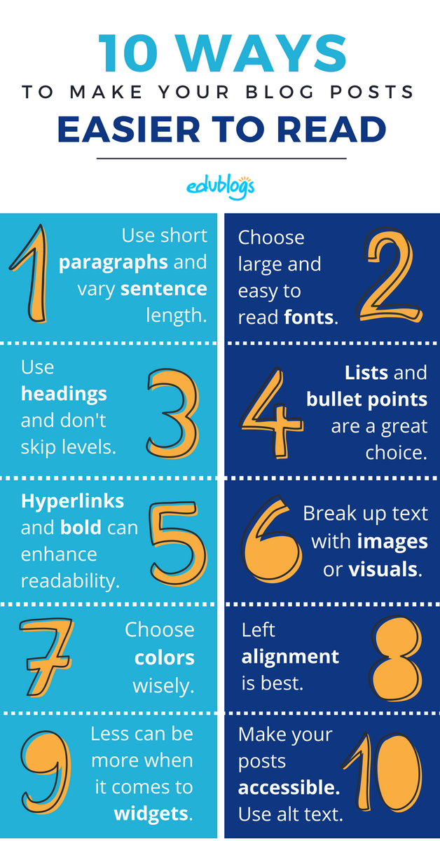 10 Ways to Make Your Blog Posts Easier to Read Infographic Edublogs