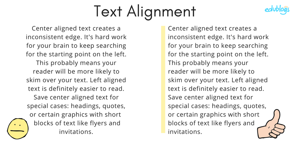 Demonstration of how left aligned text is easier to read