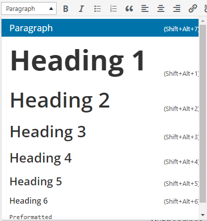 heading tags in visual editor