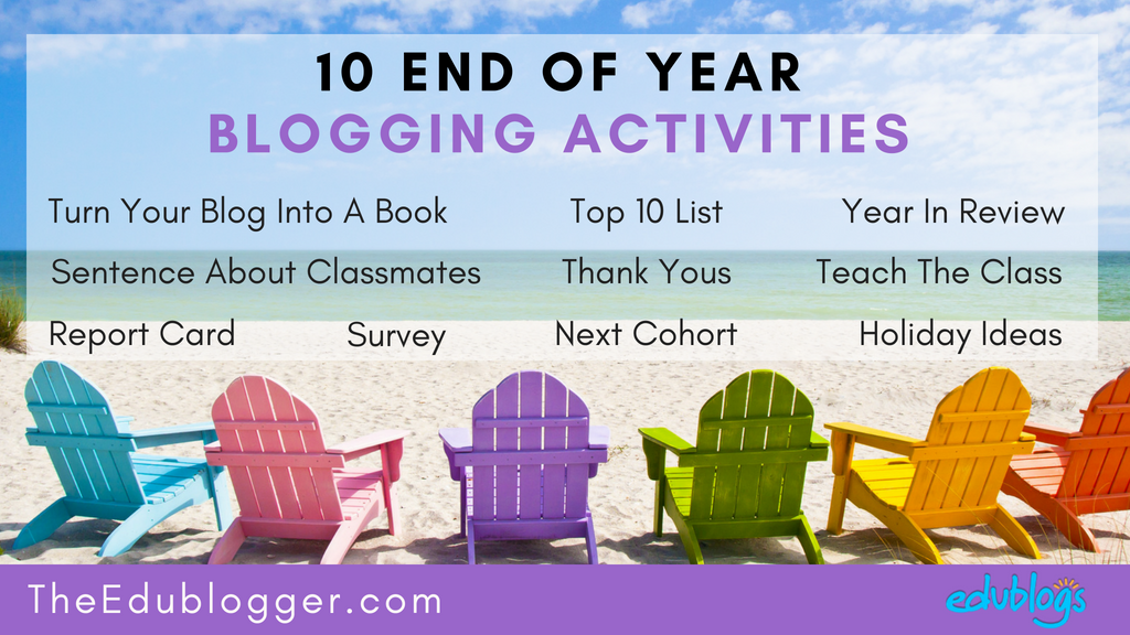 Here are ten blogging activities that you could weave into your end of year program. We've provided lots of ideas and resources to keep things stress-free at this busy time!. Edublogs | The Edublogger