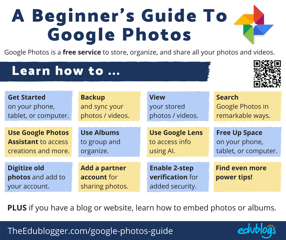 What do you do with all the photos you're taking on your phone? Google Photos is an excellent free solution for storing, organizing, and sharing photos and videos. Let's get you started! The Edublogger