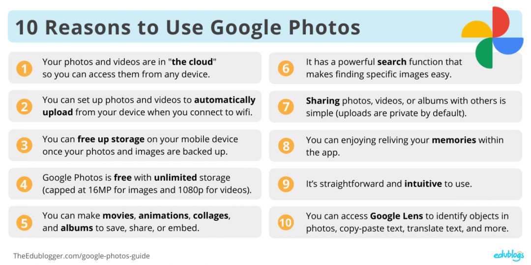 Benefits of Google Photos Summary