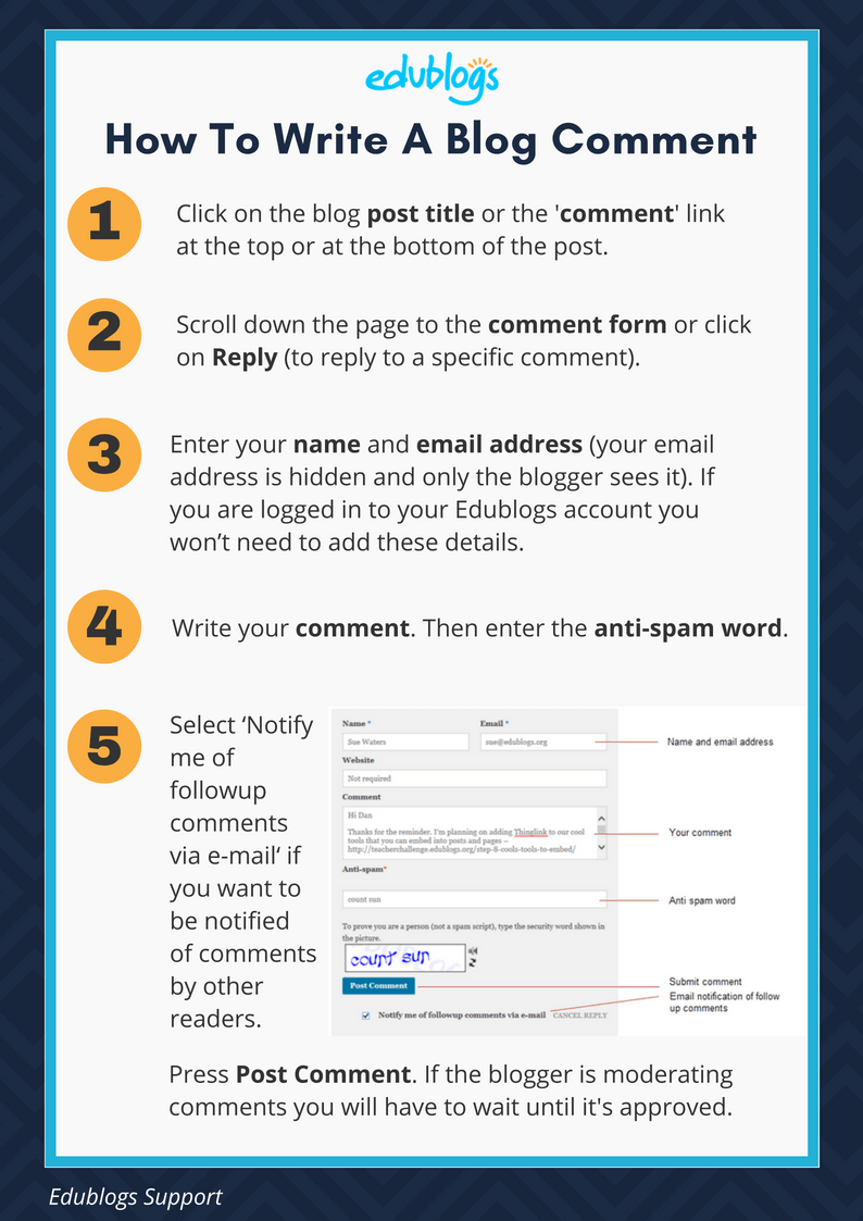 How To Write A Blog Comment Steps Edublogs