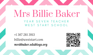Eg of a teacher business card made with Canva The Edublogger