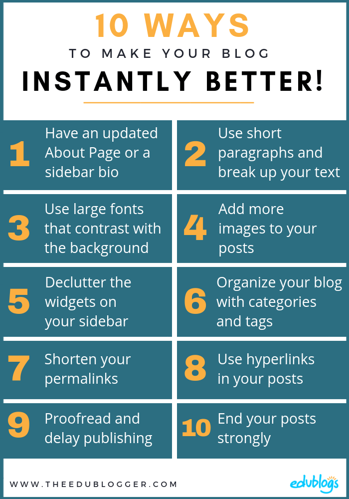 Here are 10 simple tips that you can start implementing today to make your blog instantly better! The Edublogger