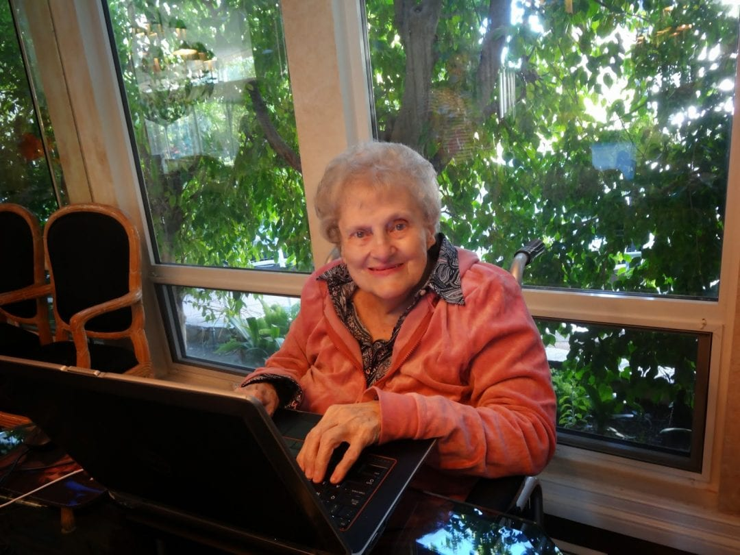 Bubbe at the computer