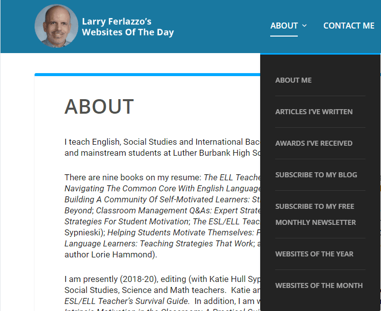 Larry Ferlazzo's About Pages screenshot of menu