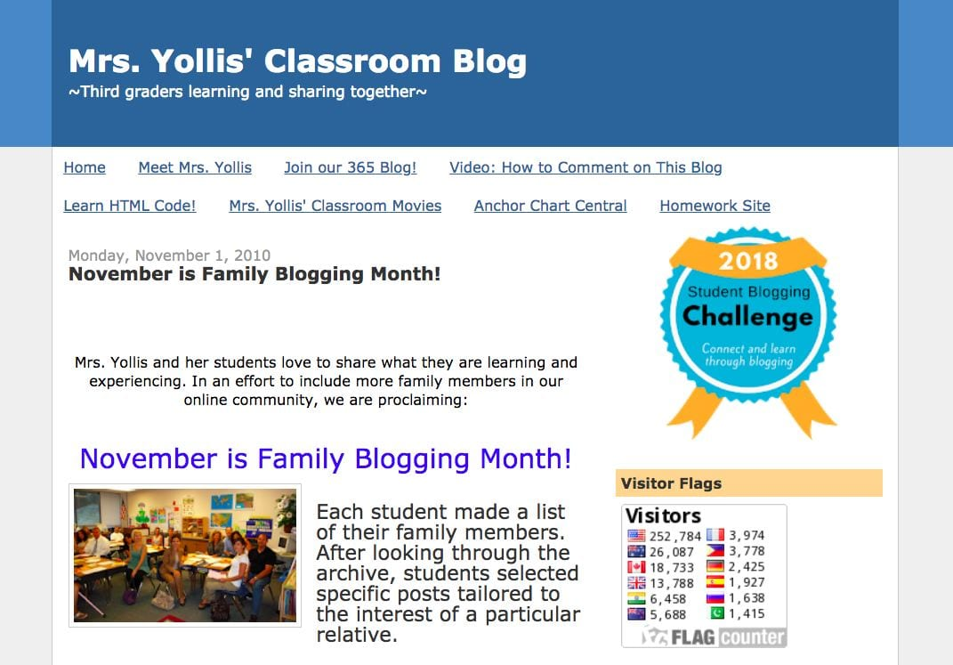 Screenshot Yollis class blog