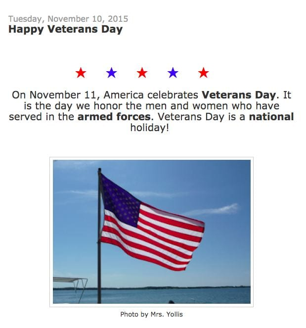 Veteran's Day Post Yollis Class Blog