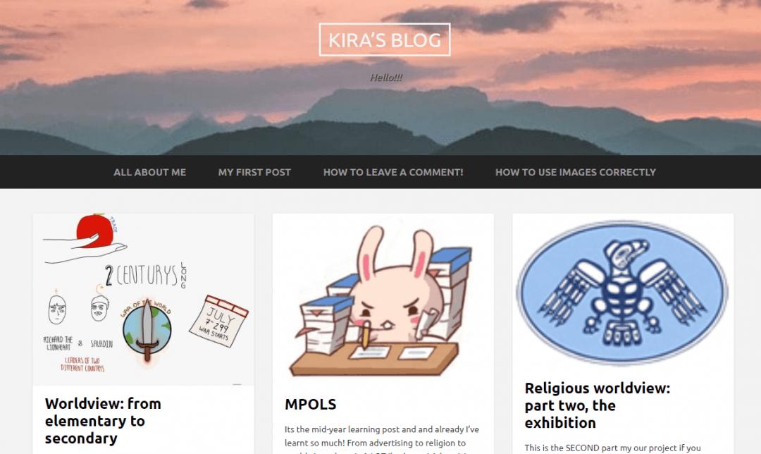Kira's Blog PLP screenshot