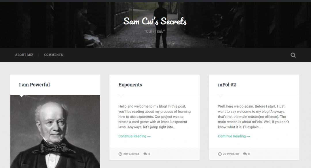 Sam's blog PLP screenshot