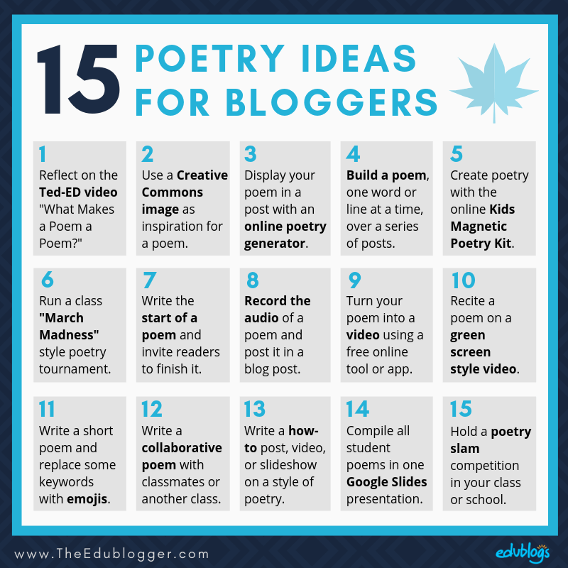 April is National Poetry Month! Here are 15 ideas for teachers and students to use in the classroom. The Edublogger
