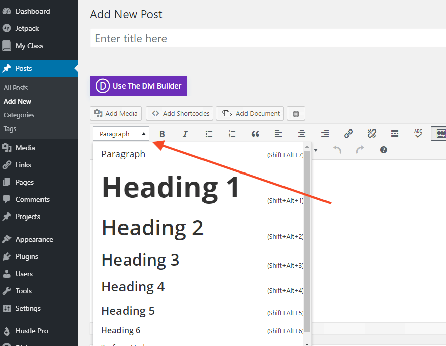 Screenshot showing where to find a heading in your visual editor
