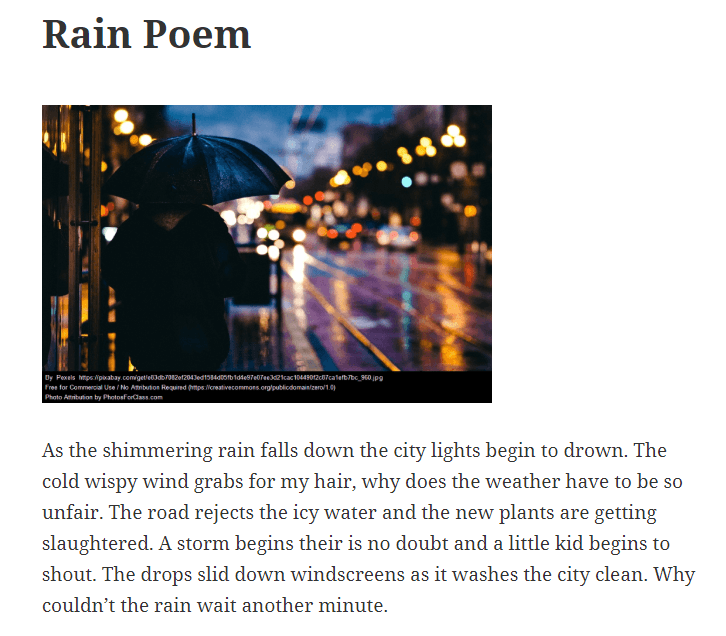 Rain poem from Molly in NZ for STUBC The Edublogger