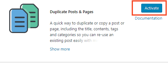 Screenshot of Duplicate post plugin