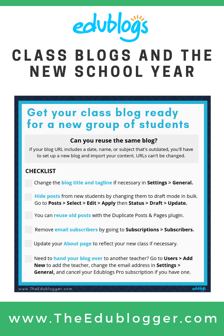 A checklist for getting your class blog ready for the new school year Edublogs