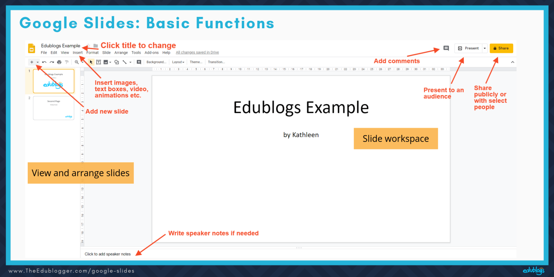 Screenshot of Google Slides showing basic buttons