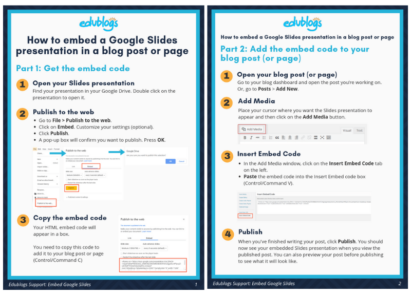 2 page PDF showing how to embed a Google Slides presentation into a blog post or page
