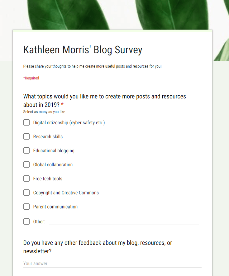 Example of a blog survey from Kathleen Morris