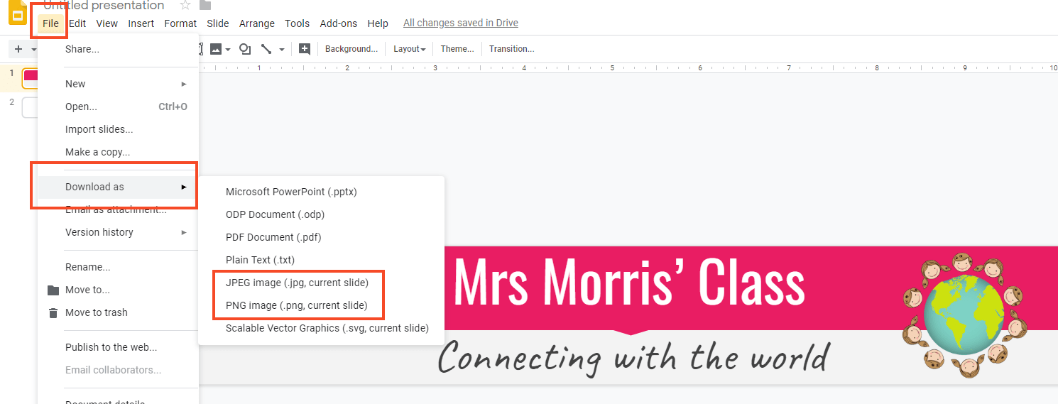 Screenshot showing how to save Google slides as an image