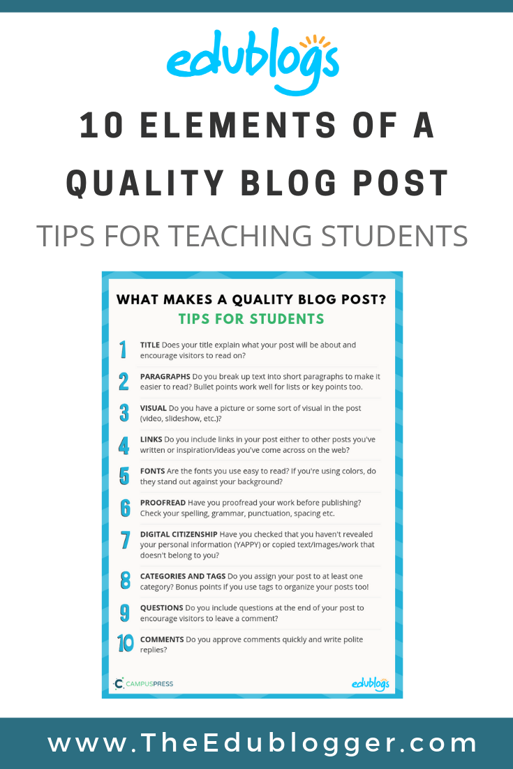 10 Elements Of A Quality Blog Post: Tips For Teaching Students