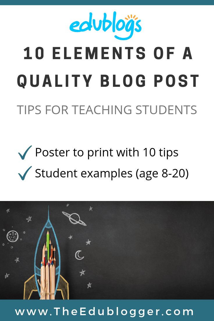 Check out examples of student work and download the poster about the 10 elements of a quality blog post. Help students meet academic outcomes while learning how to be a safe and positive digital citizen!